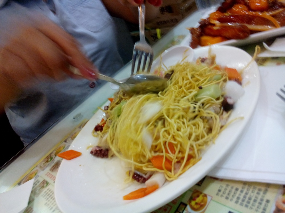 Crispy noodles and seafood! good for 3 people as well. I forgot how much this is though!