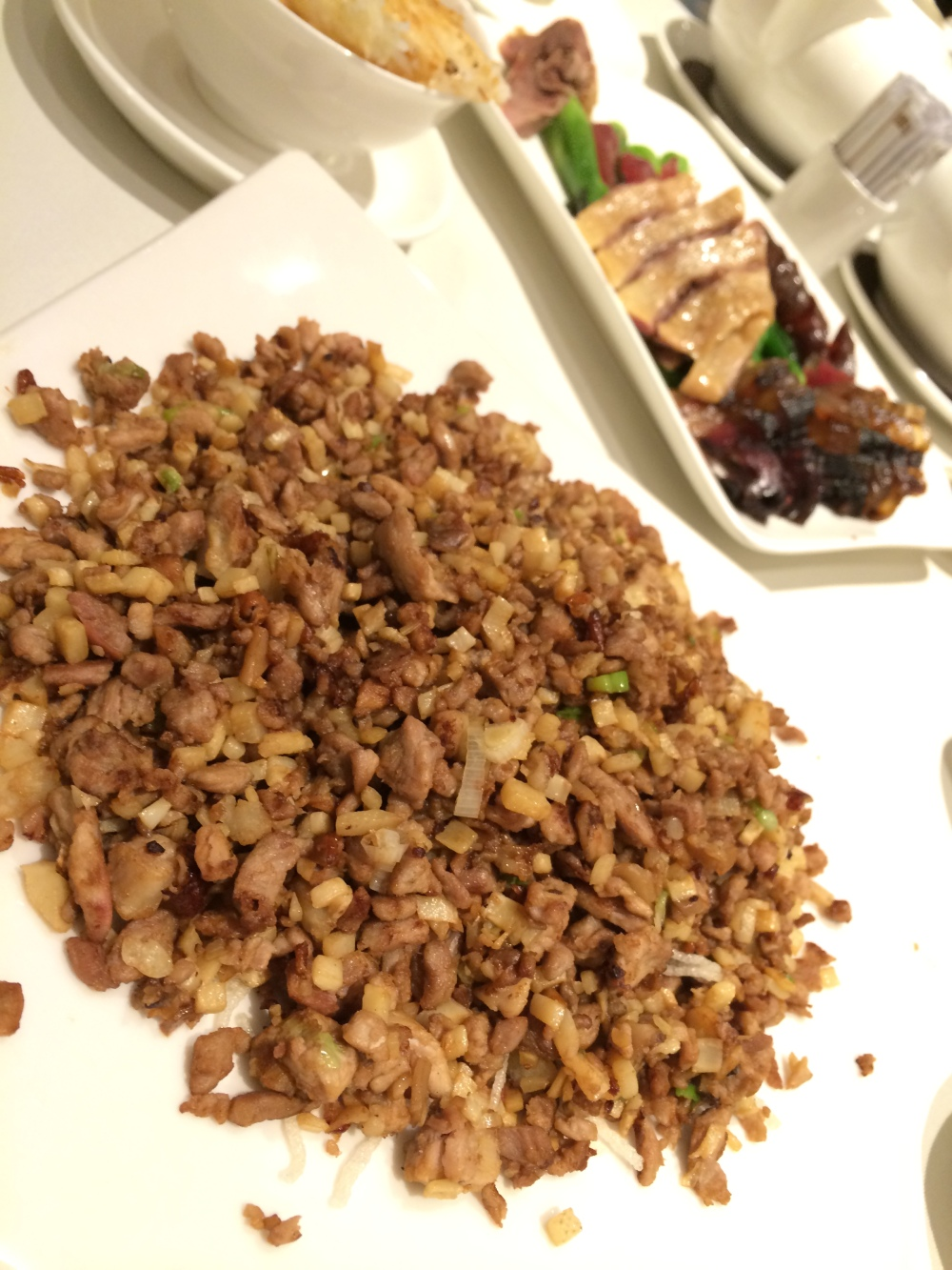 Minced duck. It was dry but that's how they cook it pala