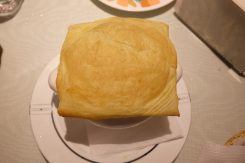 Puff pastry with corn soup